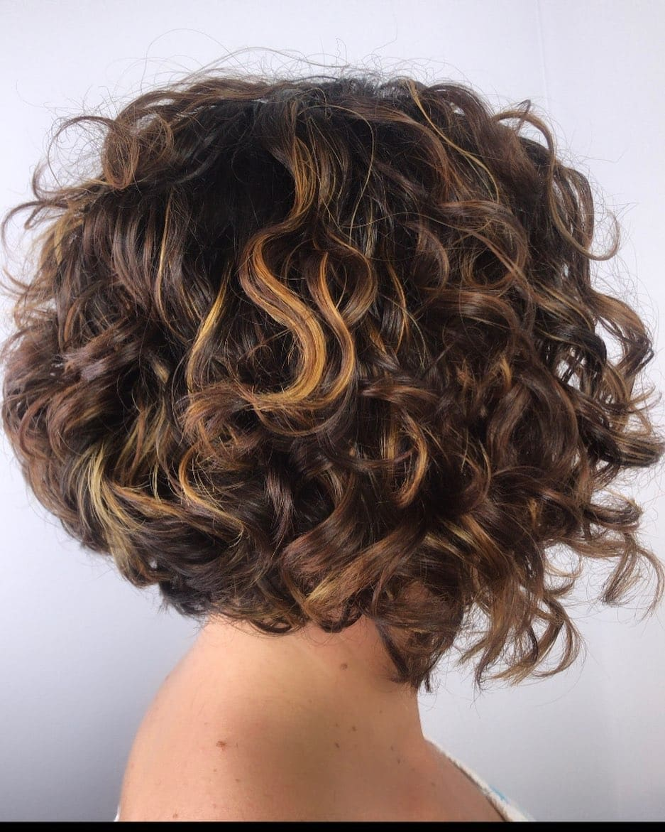 Chin Length Inverted Bob for Curly Hair