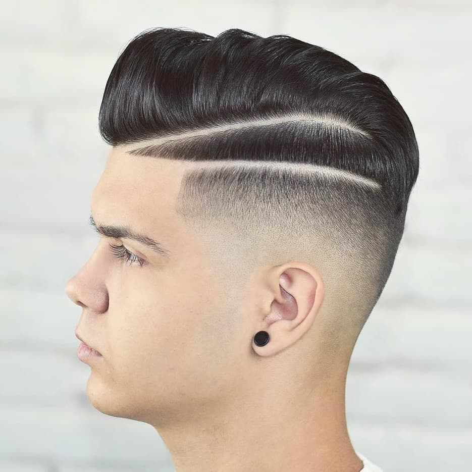 Skin Fade with Two hard lines