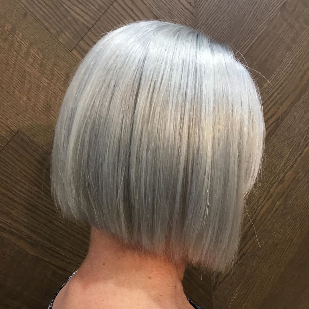 Sleek Bob For Silver Hair