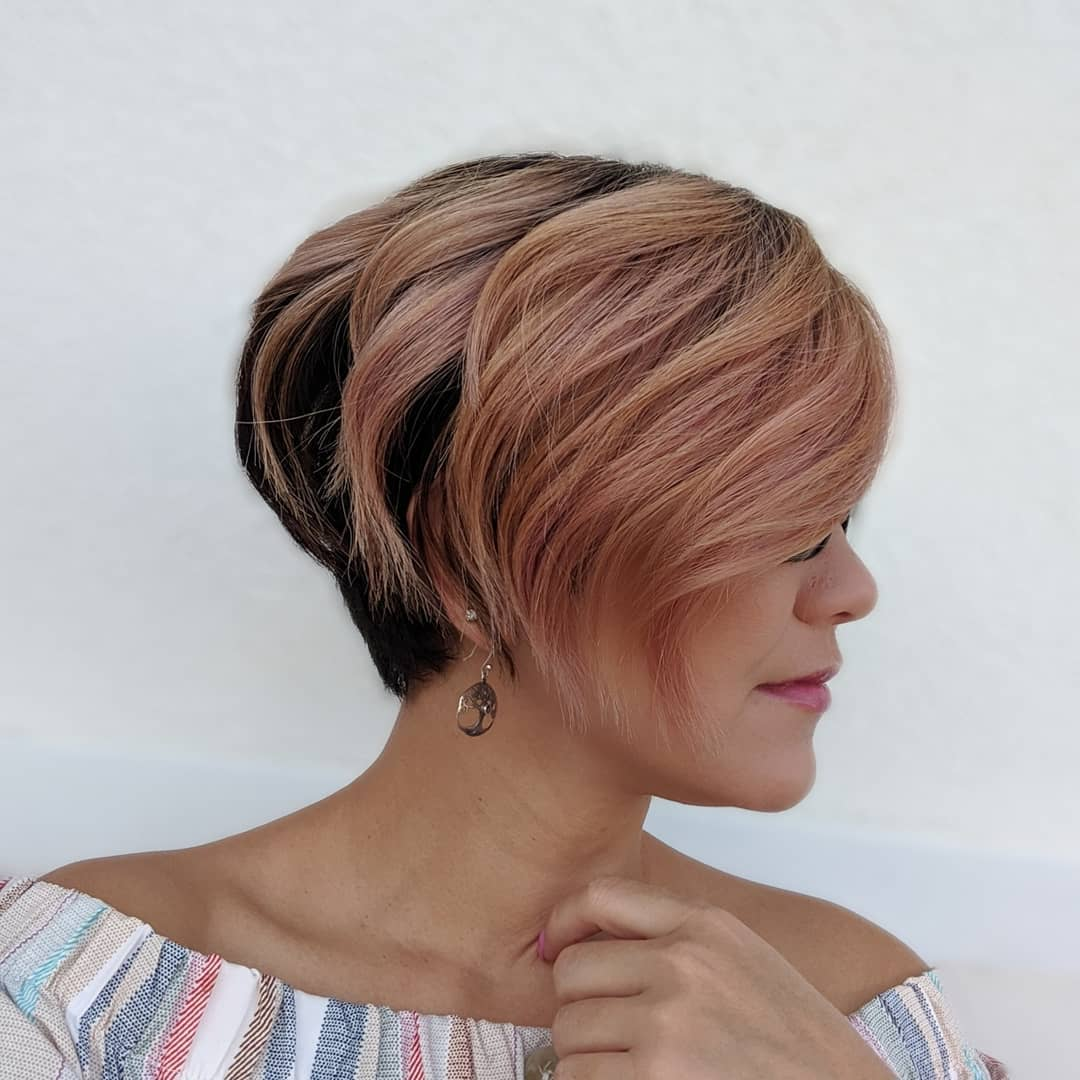 Stacked Bob with Strawberry Highlights
