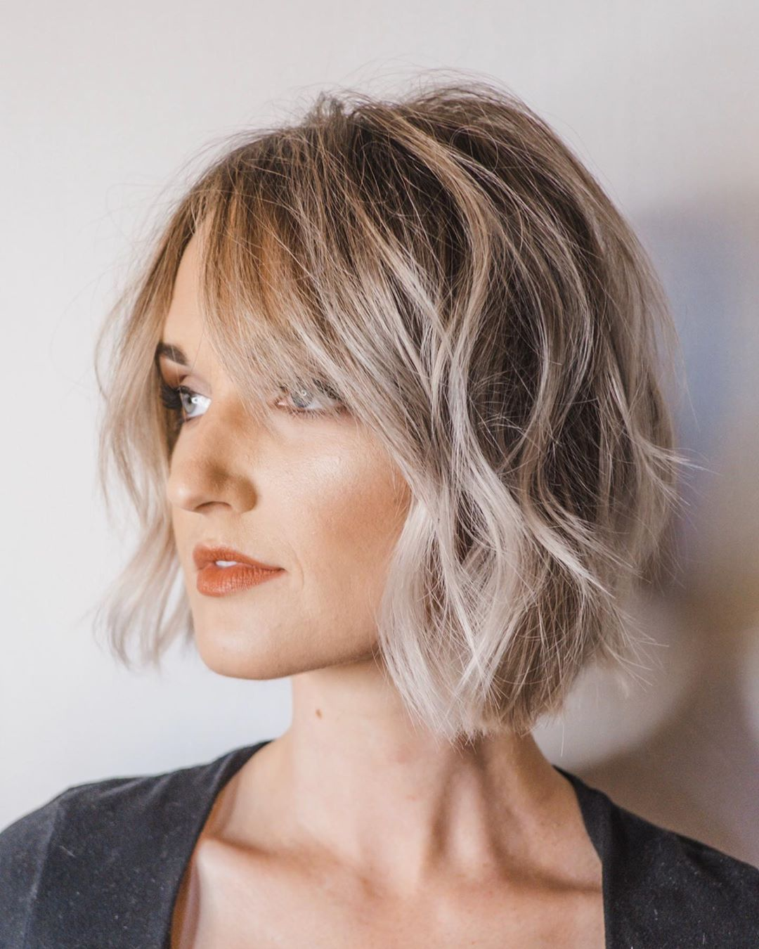 Textured Bob with Side-swept Bangs