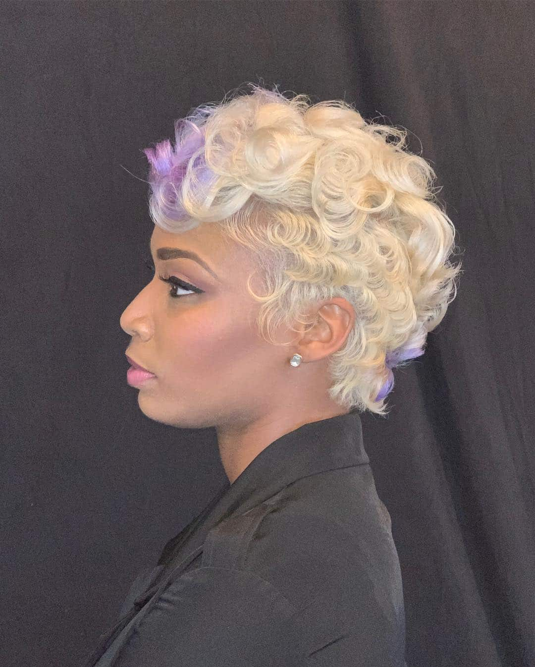 Blonde Curls With Purple Highlights