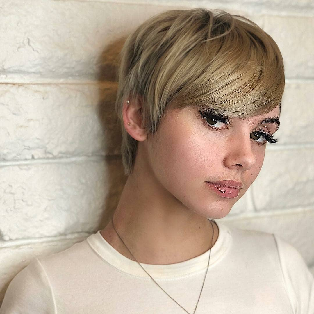 Blonde Pixie With Side Bangs