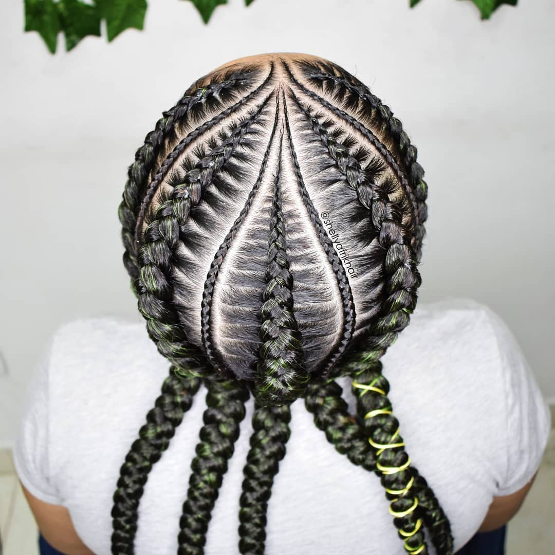 Green Tip Braids With Cornrows