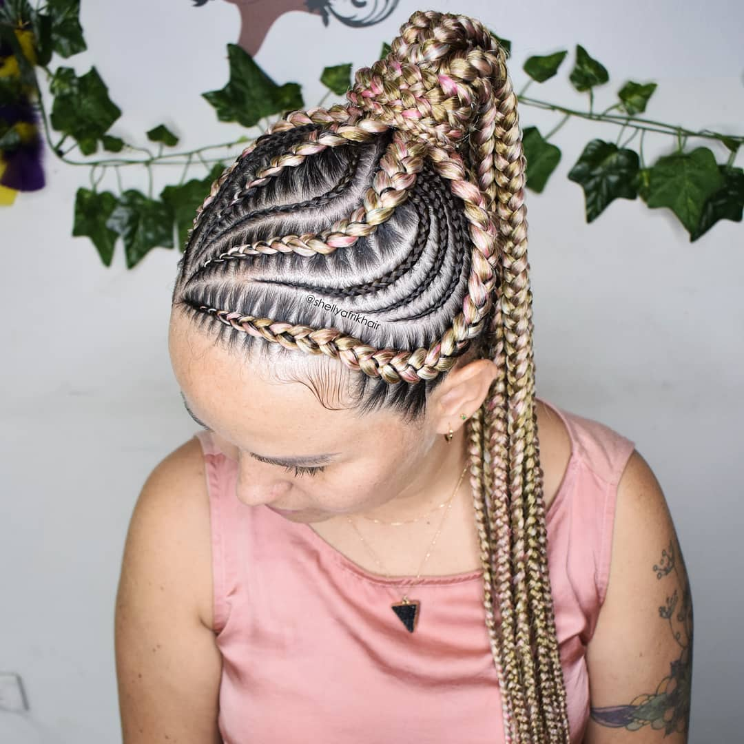 Pink And Blonde Braids In Ponytail