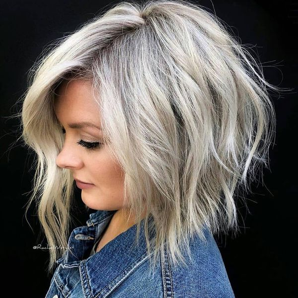 Platinum Gray Long Bob