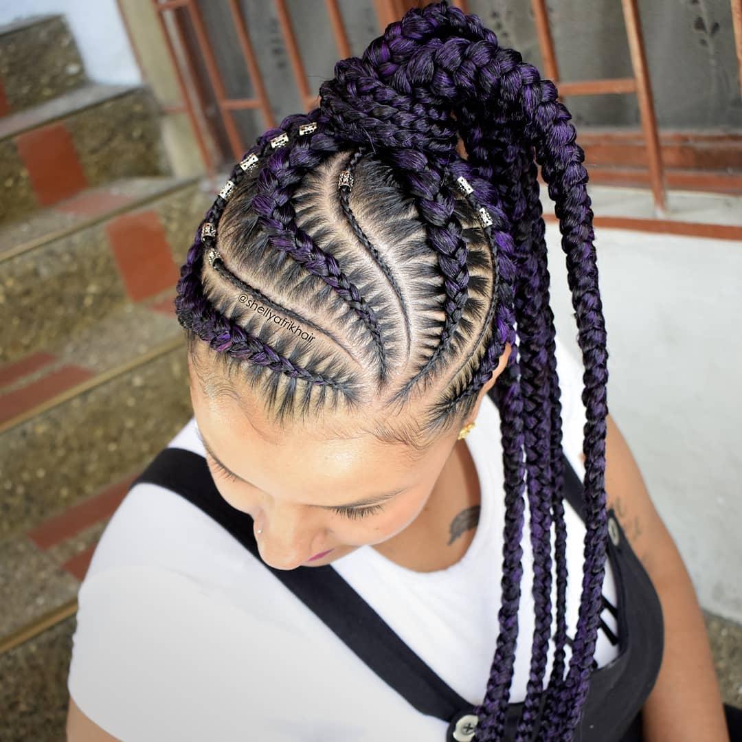 Purple Side Part Braids In Ponytail