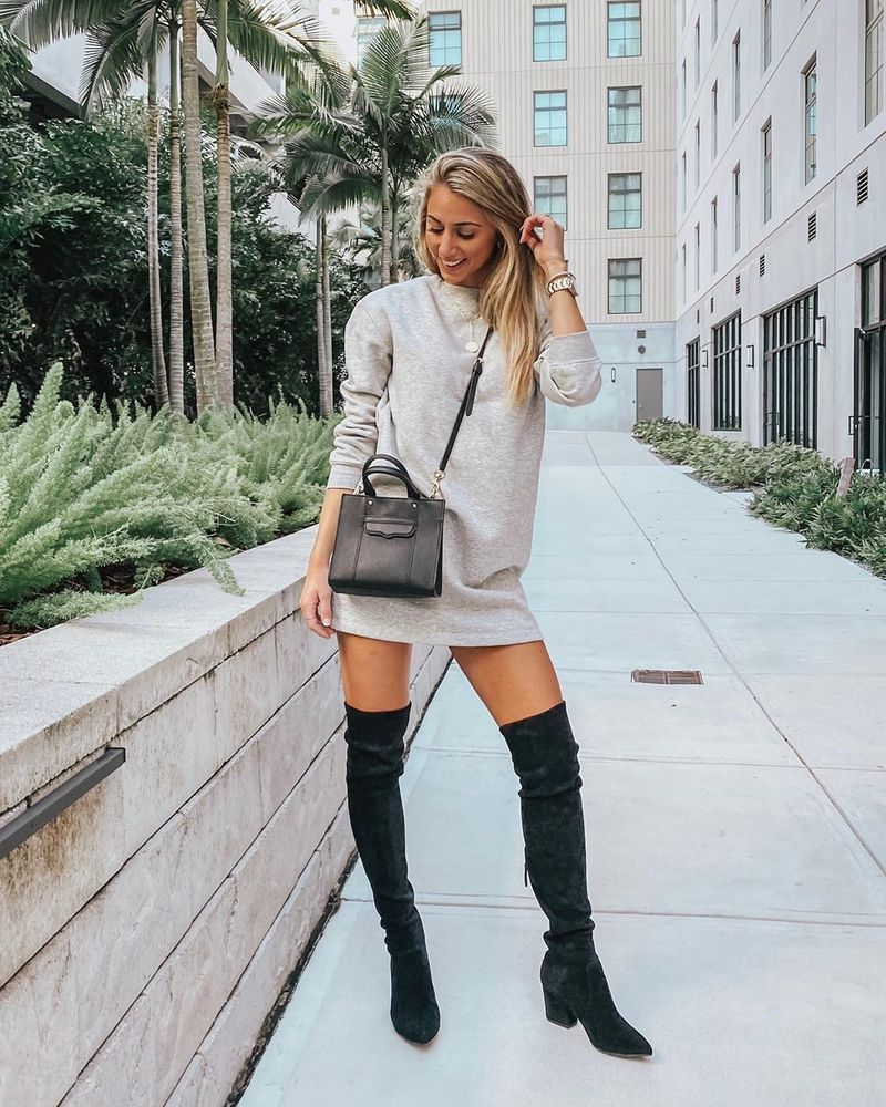 Shirt Dress With Thigh High Boots