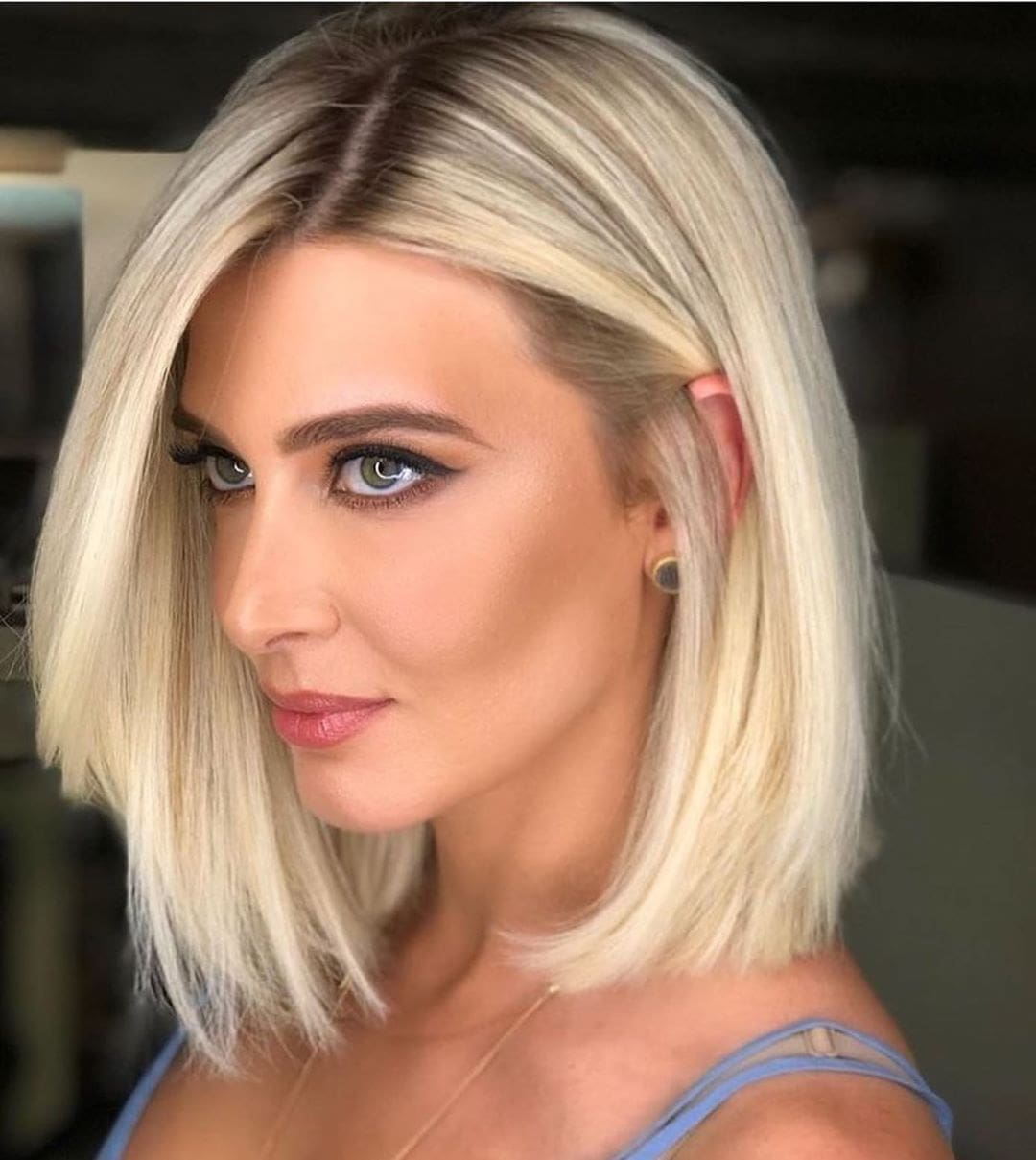 Straight Blonde Long Bob