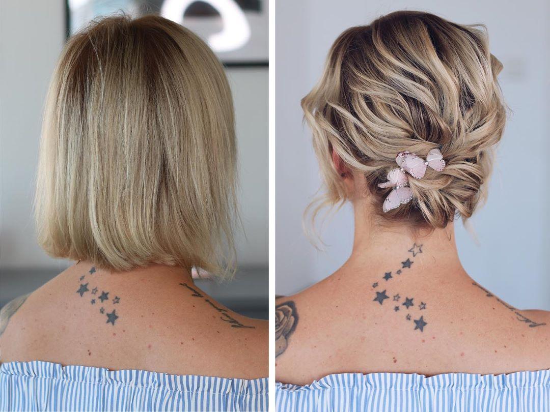 Textured Up-do For Medium Hair