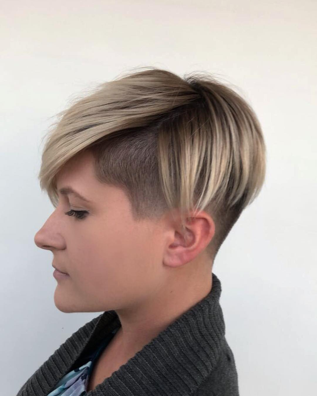 Balayage Pixie With Shaved Detail