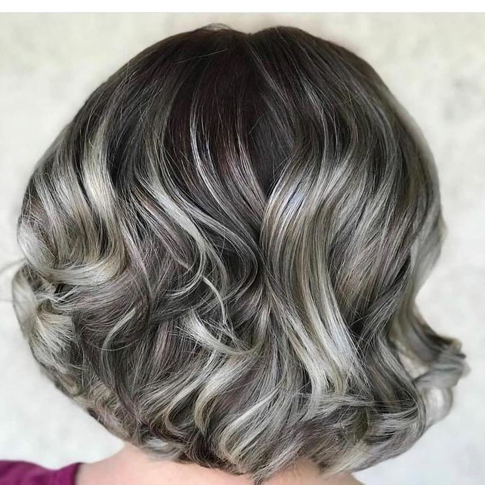 Curly Silver Bob