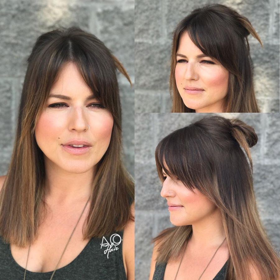 Angled Side Part Bangs
